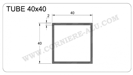 Tube aluminium carré 40x40